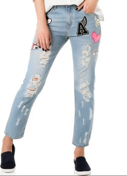 A-HA - CALÇA JEANS BOYFRIEND PATCHES - JEANS