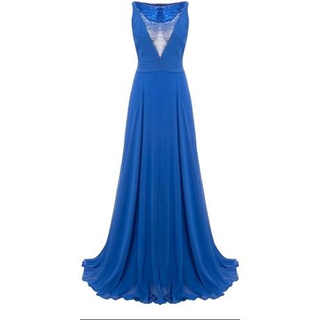 Alphorria Vestido De Festa Longo Decote Bordado Canutilhos Azul Royal Capitollium