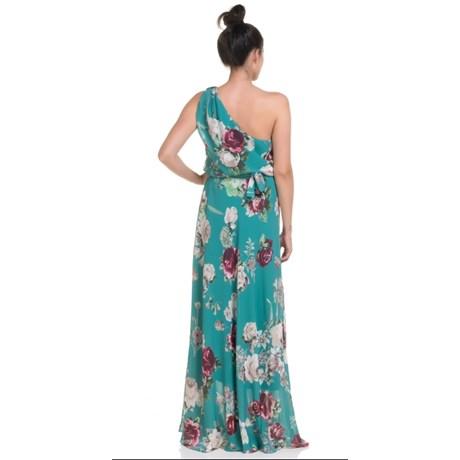 Amíssima Vestido De Festa Longo Crepe Floral Blusado Um Ombro Só Verde Capitollium