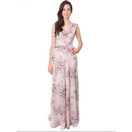 Amíssima Vestido De Festa Longo Floral Chiffon Lilás Capitollium