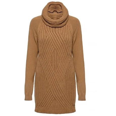 ANSELMI - Blusa de Tricot Maxi Pull Camelo