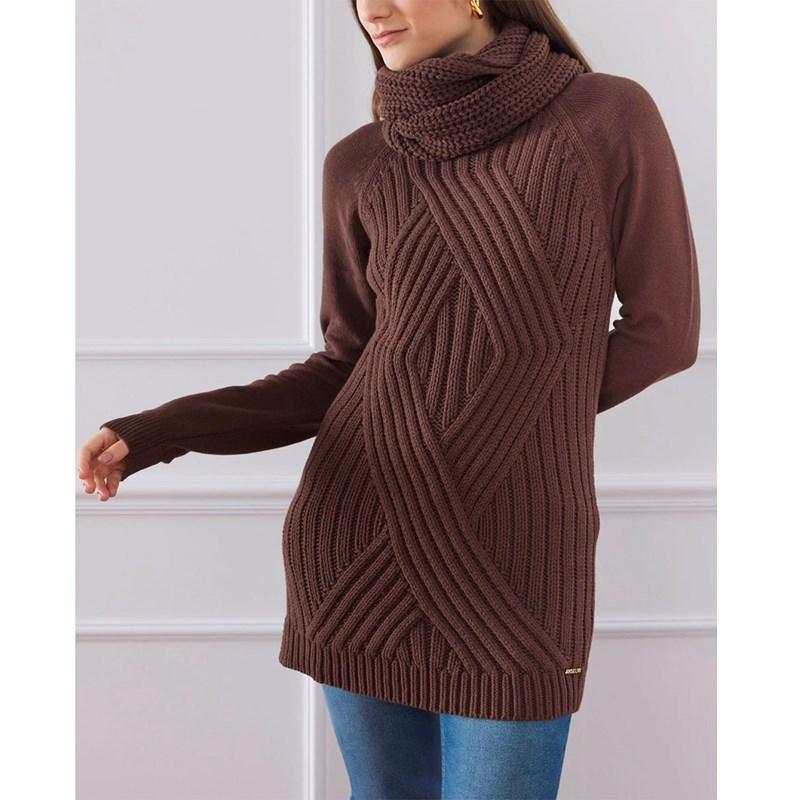 ANSELMI - Blusa de Tricot Maxi Pull Chocolate