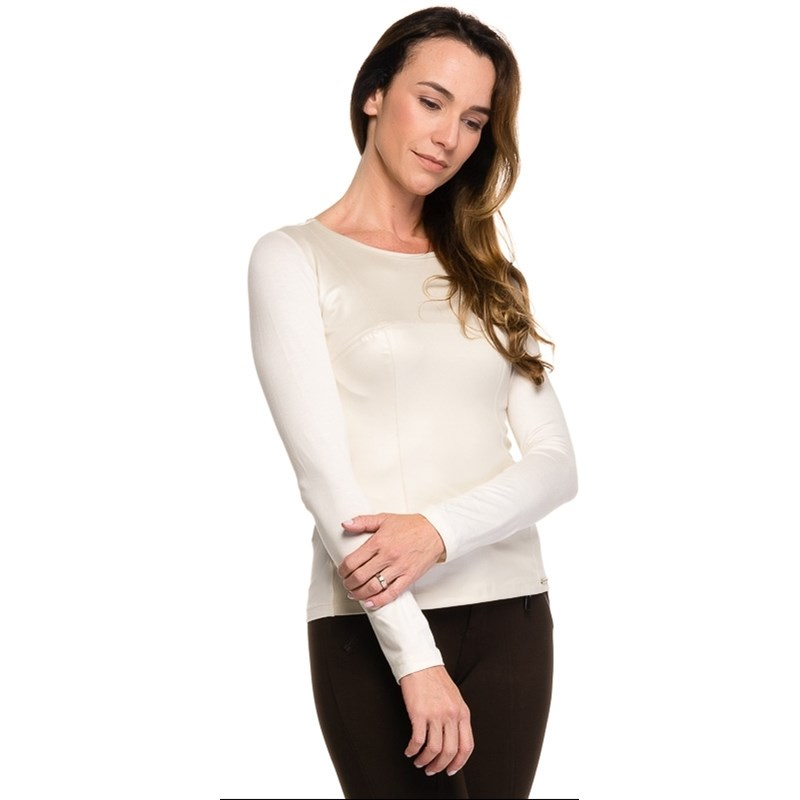 BLUSA BORDA BARROCA GOLA REDONDA - OFF WHITE