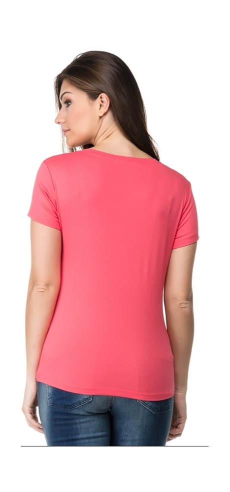 BLUSA CAPITOLLIUM EXCLUSIVE  CRAZY COLORS MANGA CURTA - CORAL
