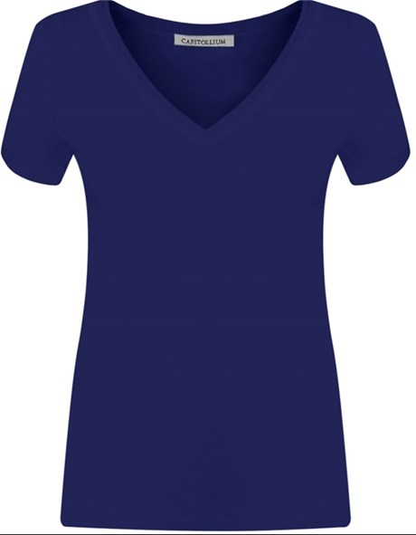 BLUSA VISCO DECOTE V GOLA COLOCADA - CARBONO