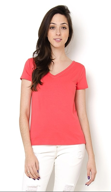 BLUSA VISCO DECOTE V GOLA COLOCADA - CORAL
