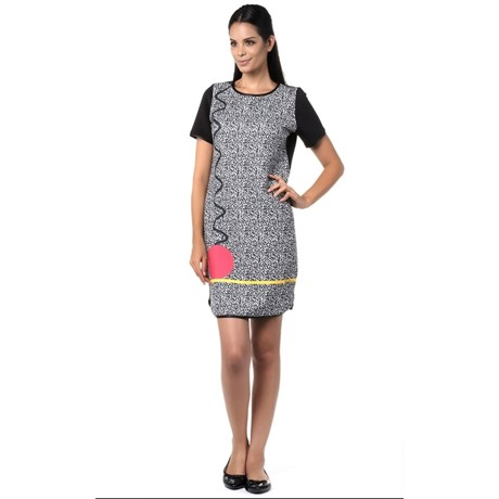 BORDA BARROCA - VESTIDO T-SHIRT ESTAMPADO - PRETO