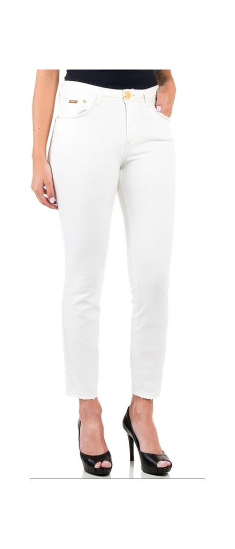 CALÇA JEANS CHOPPER LONDON TWIGGY SKINNY - OFF WHITE