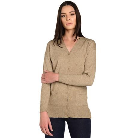 Cardigan tricot com bolso duplo
