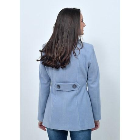 Casaco de Lã 3/4 com Cinto Azul Lavanda