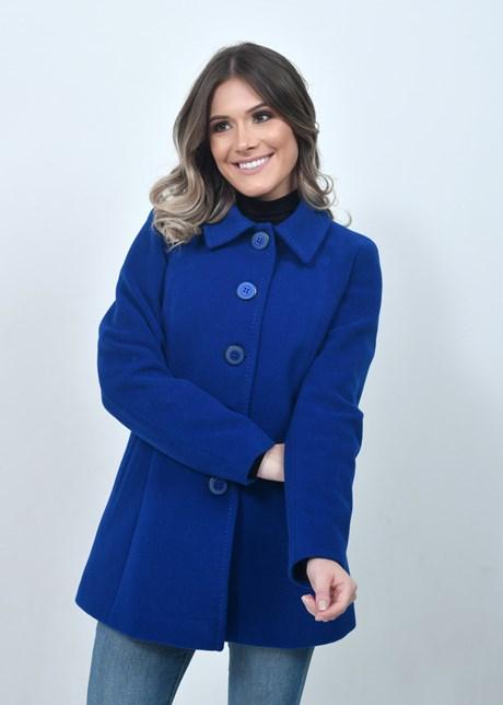 Casaco Lã 3/4 Bolsos - Azul