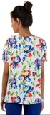 CHOLET - BLUSA AMPLA CREPE ESTAMPA FLORAL DECOTE V - OFF WHITE