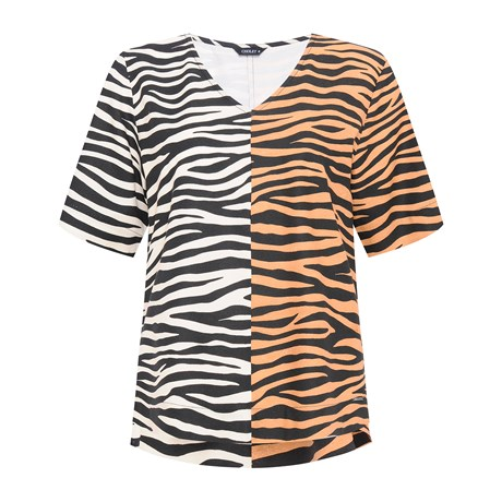 CHOLET - BLUSA MANGUINHA ANIMAL PRINT ZEBRA