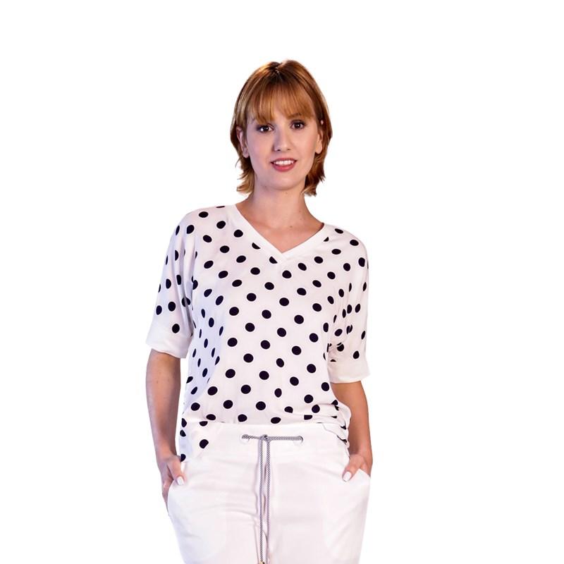 CHOLET - Blusa Mix de Tecidos Off White Bolinhas