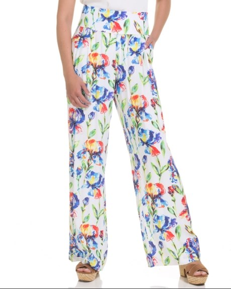 CHOLET - CALÇA CREPE PANTALONA FLORAL DIGITAL - OFF WHITE