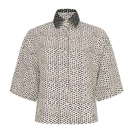 CHOLET -  Camisa de Linho com Gola Estampa Poá