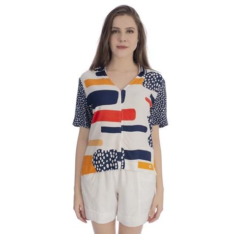 CHOLET - Camisa de Viscose Rayon com Gola diferenciada Estampada