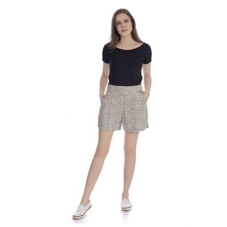 CHOLET - Shorts Cintura Alta Linho Estampa Poá