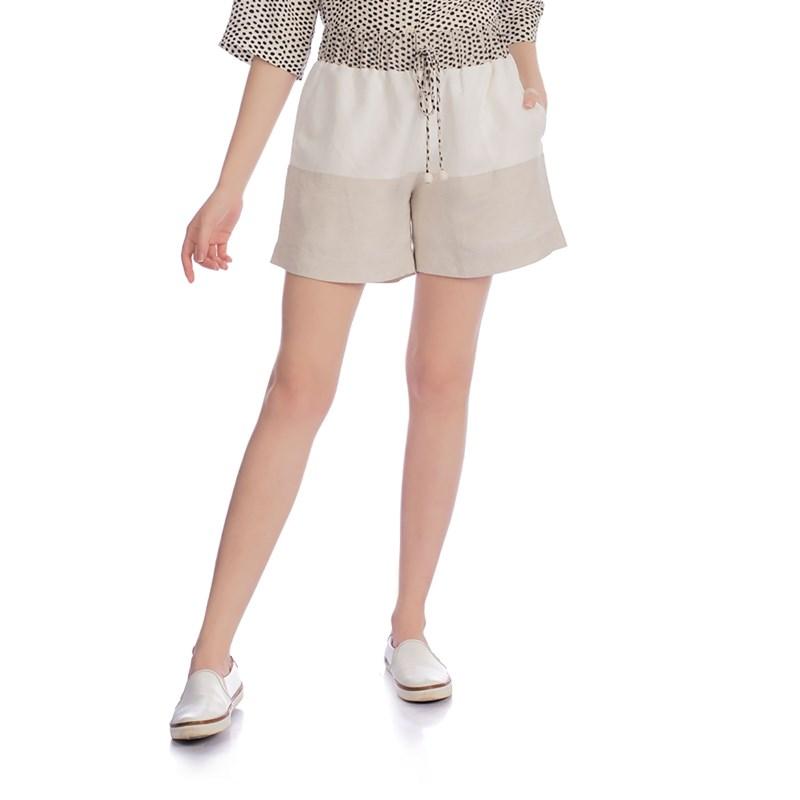 CHOLET -  Shorts de linho com detalhe no cós estampa poá off white