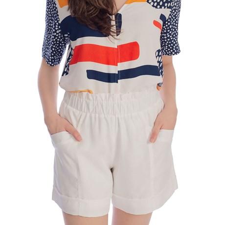 CHOLET - Shorts Liocel com elastico e barra italiana off white