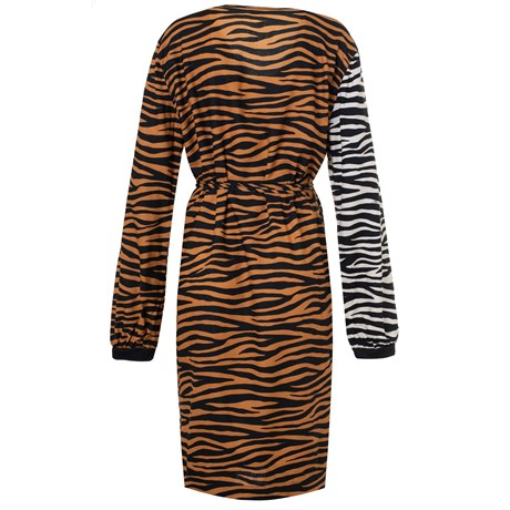 CHOLET - VESTIDO CASHEQUERE MIX DE ESTAMPAS ANIMAL PRINT