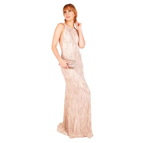 CHOLET - Vestido de Festa Longo Gola Reta com Fenda