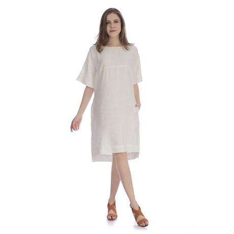 CHOLET - Vestido de Linho com Detalhe Recorte Off White