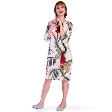 CHOLET - Vestido de viscose floral com cinto e manga 3/4