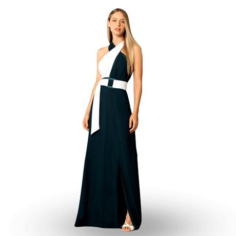 CHOLET -Vestido longo de festa busto cruzado