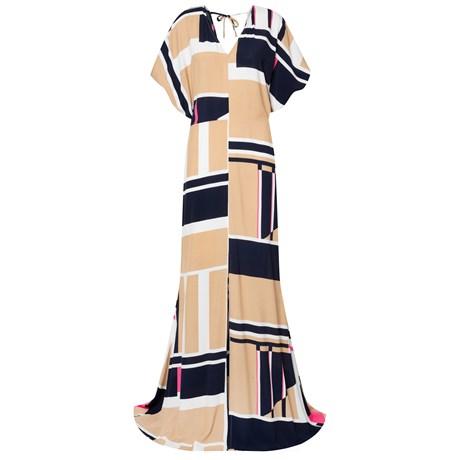 CHOLET - Vestido Longo Estampa Maxi Square