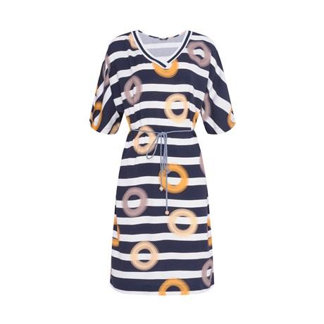CHOLET- Vestido Manguinha Estampa Argolas com cinto