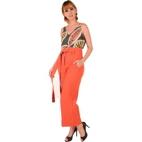 FELINI - Calça Cropped Crepe Tangerina