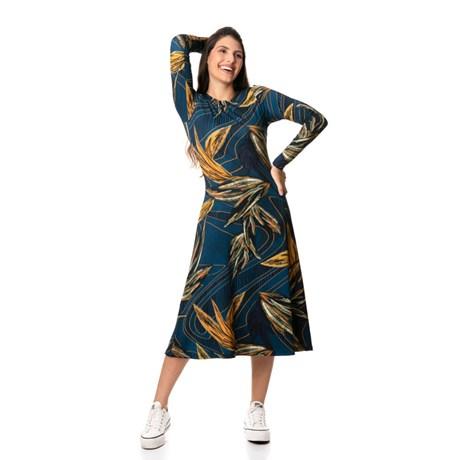 IOZI - Vestido de Viscose Manga Longa Gola Redonda Estampado