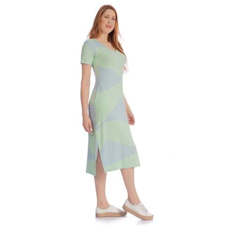 IOZI - Vestido Midi Fenda Lateral Listras Bicolor