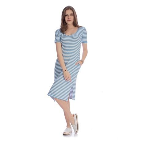 IOZI - Vestido Midi Listras Azul com Bolsos