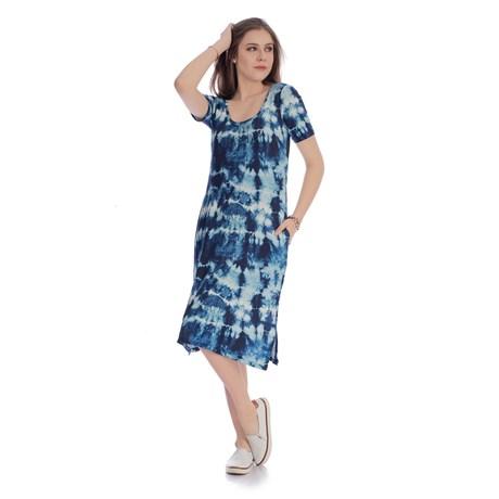 IOZI - Vestido Midi Tie Dye com Bolsos