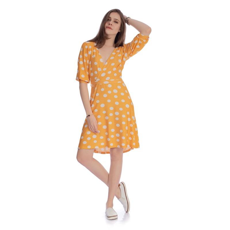IOZI - Vestido Transpassado Yellow Dots
