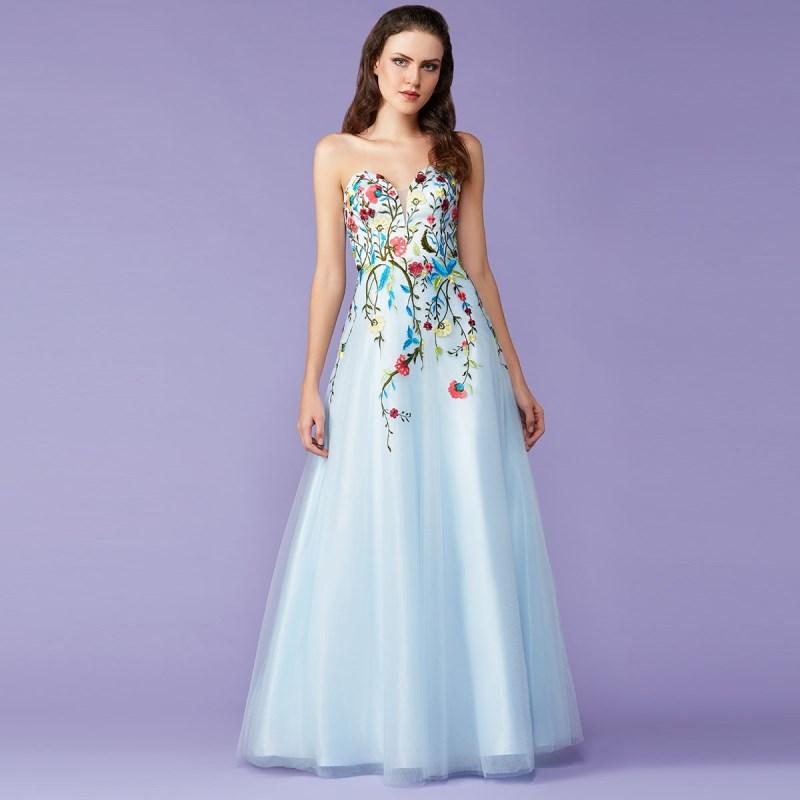 Vestido para festa azul claro longo