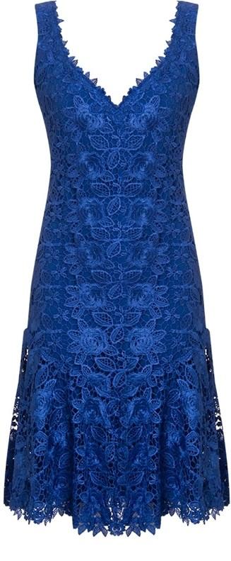 Vestido de festa azul royal com renda curto