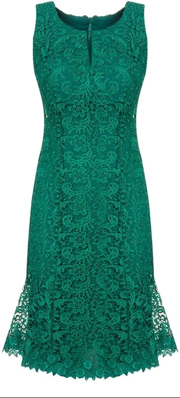 Vestido de festa curto com renda verde