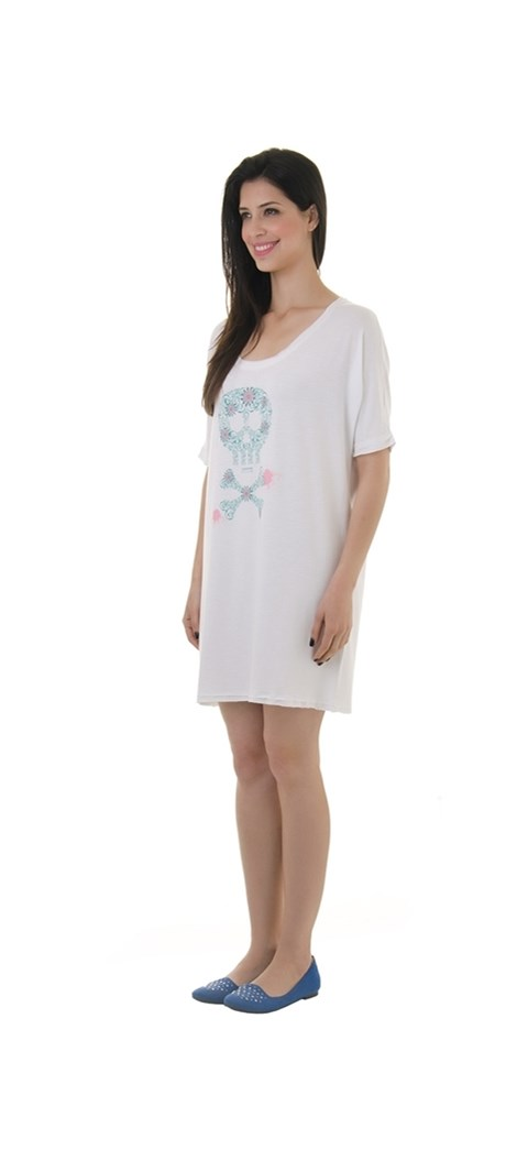 MINI VESTIDO ESTAMPA CAVEIRA FLORAL SKULLY - OFF WHITE