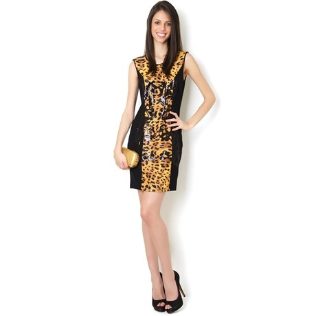VESTIDO ANIMAL PRINT BORDADO - PRETO