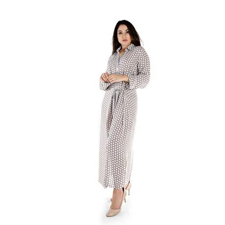 Vestido Estampa Geométrica Amendoa - Cléo Aidar