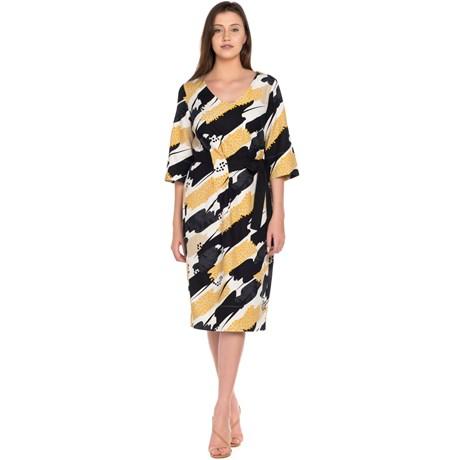 Vestido Estampa Organica com Faixa