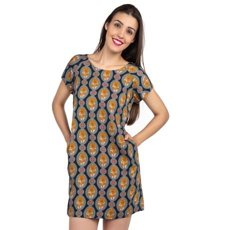 Vestido Estampado Flor - Marinho