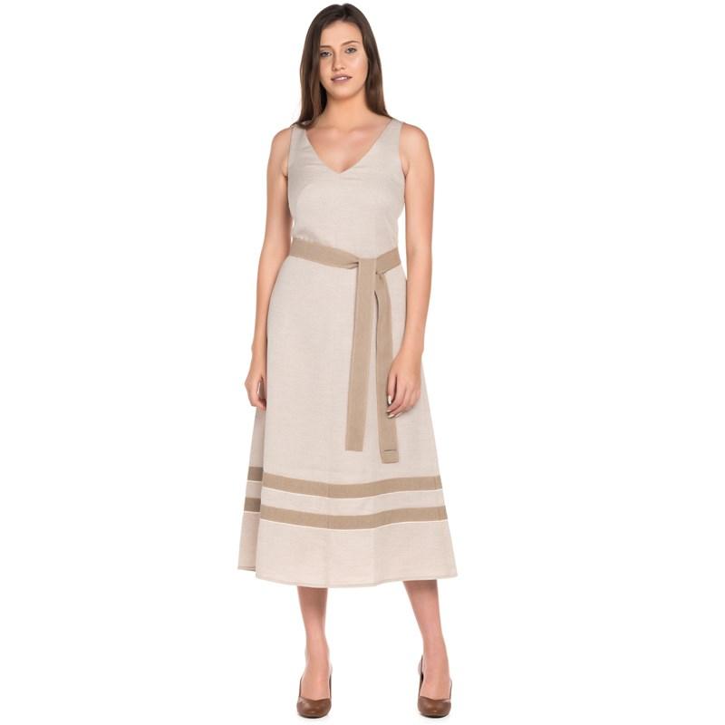 Vestido Evasê Linho Recortado