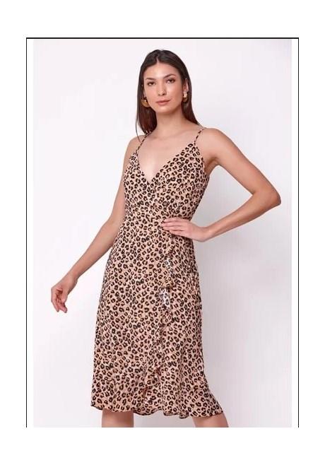 Vestido Midi Animal Print Marrom