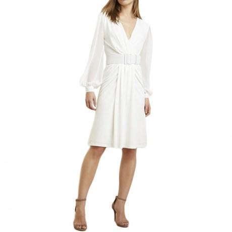 Vestido transpassado curto manga chiffon