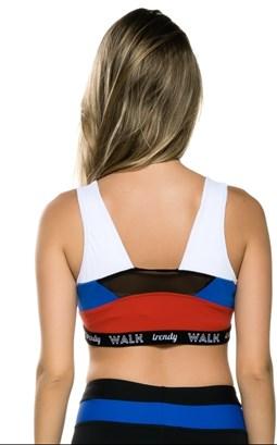 WALK TRENDY - TOP COLOR DETALHE TULE COSTAS - P&B